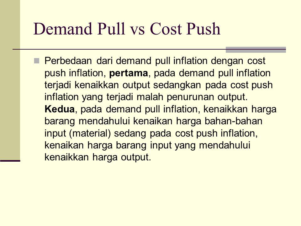 Demand Pull vs Cost Push Perbedaan dari demand pull inflation dengan cost push inflation, pertama, pada demand pull inflation terjadi kenaikkan output