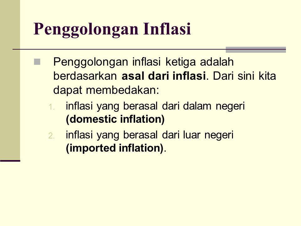 Penggolongan Inflasi Penggolongan inflasi ketiga adalah berdasarkan asal dari inflasi. Dari sini kita dapat membedakan: 1. inflasi yang berasal dari d
