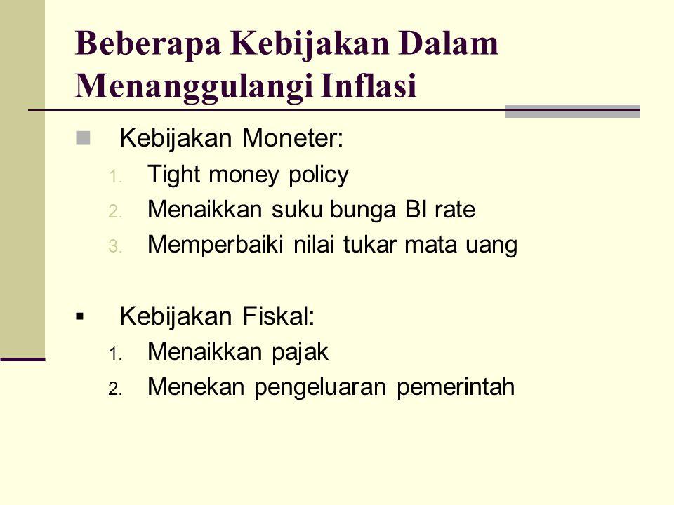 Beberapa Kebijakan Dalam Menanggulangi Inflasi Kebijakan Moneter: 1. Tight money policy 2. Menaikkan suku bunga BI rate 3. Memperbaiki nilai tukar mat