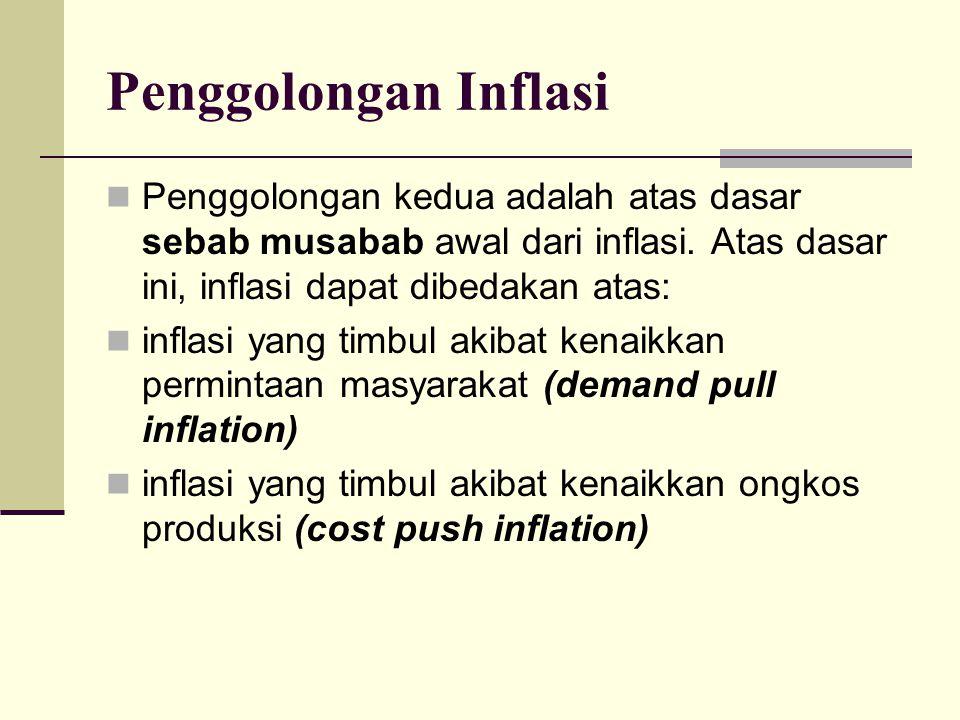 Penggolongan Inflasi Penggolongan kedua adalah atas dasar sebab musabab awal dari inflasi. Atas dasar ini, inflasi dapat dibedakan atas: inflasi yang
