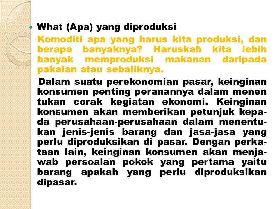 What (Apa) yang diproduksi Komoditi apa yang harus kita produksi, dan berapa banyaknya.