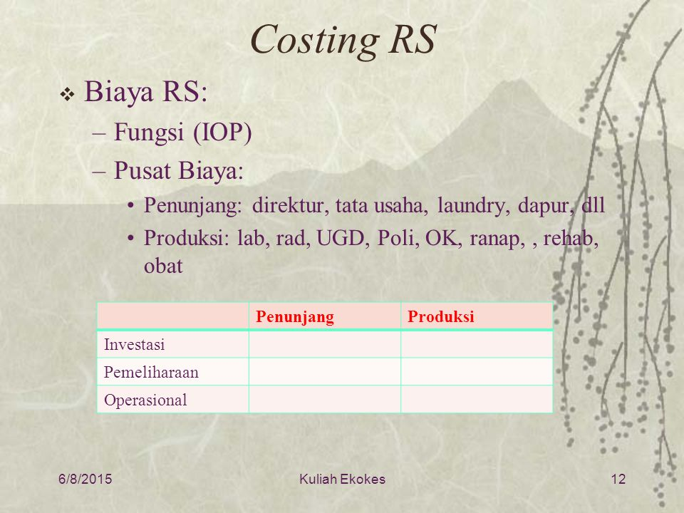 Costing RS  Biaya RS: –Fungsi (IOP) –Pusat Biaya: Penunjang: direktur, tata usaha, laundry, dapur, dll Produksi: lab, rad, UGD, Poli, OK, ranap,, reh