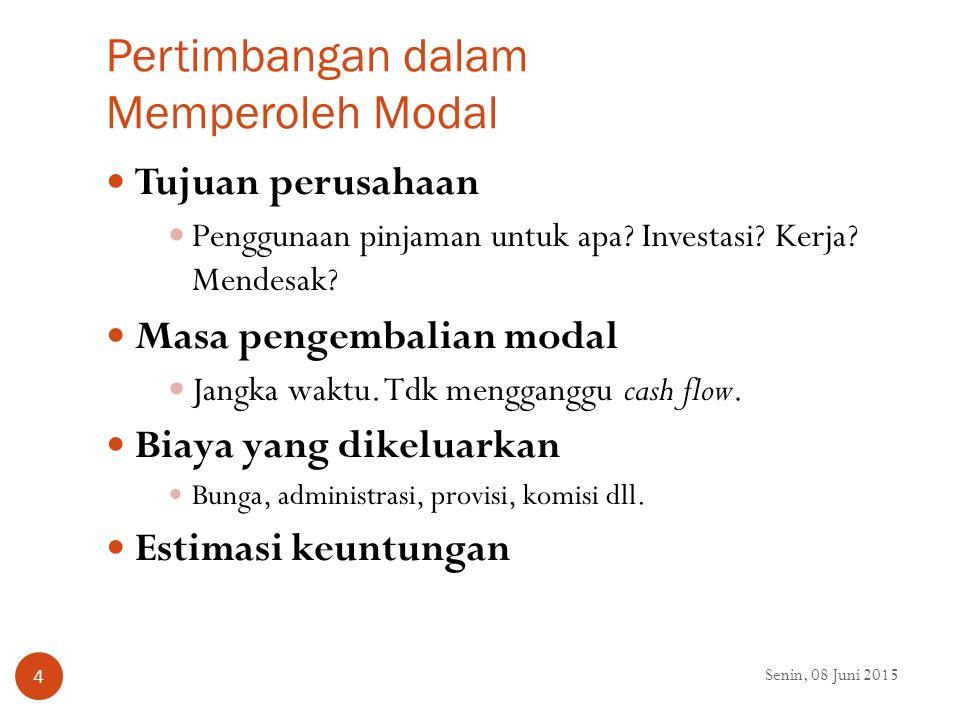 Jenis Modal dilihat dari Sumbernya Senin, 08 Juni 2015 5 Modal sendiri, terdiri dari: Setoran modal (saham) Cadangan laba Laba yang belum dibagi Modal sumbangan hibah Modal asing (pinjaman), terdiri dari: Pinjaman dari dunia perbankan Pinjaman dari lembaga keuangan lainnya Pinjaman dari perusahaan non keuangan Modal Campuran