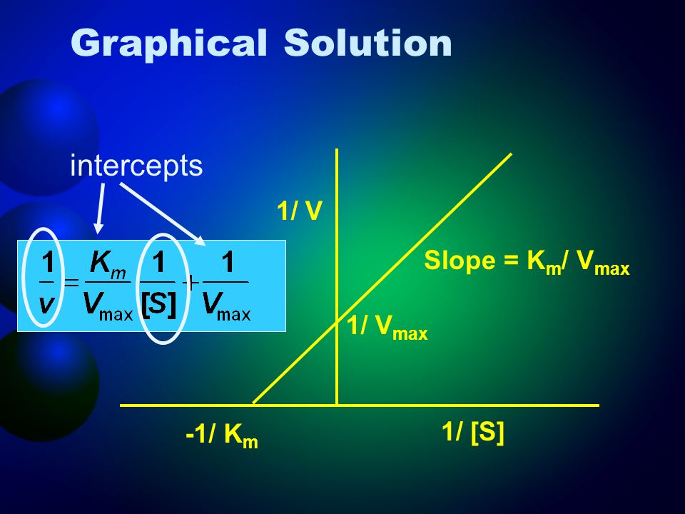 Graphical Solution 1/ V 1/ [S] 1/ V max -1/ K m Slope = K m / V max intercepts