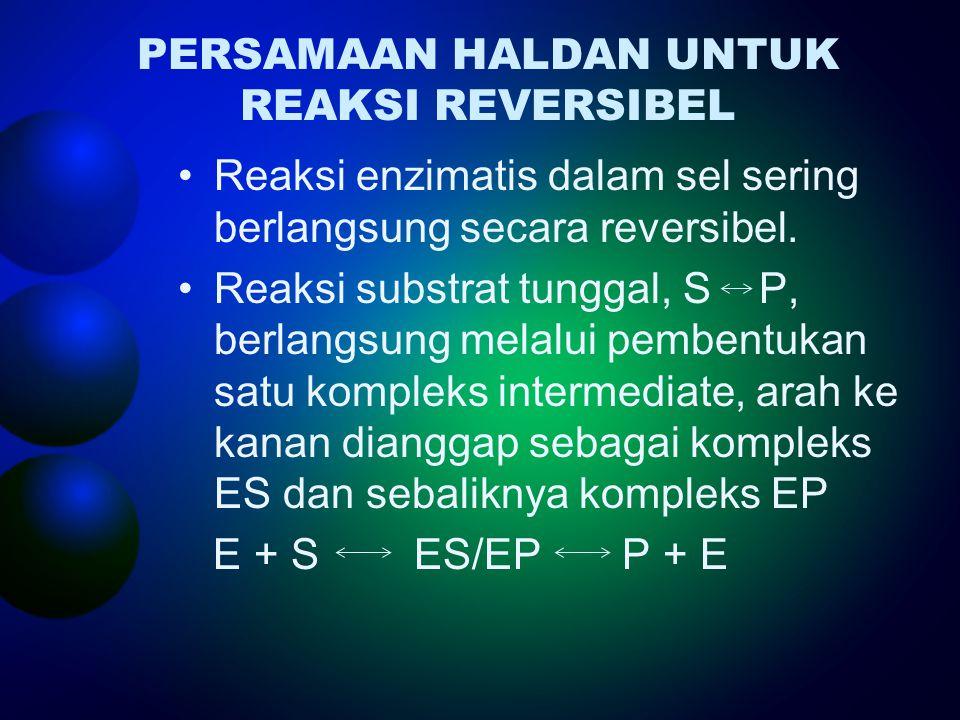PERSAMAAN HALDAN UNTUK REAKSI REVERSIBEL Reaksi enzimatis dalam sel sering berlangsung secara reversibel. Reaksi substrat tunggal, S P, berlangsung me