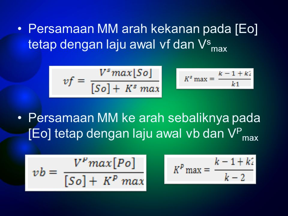Persamaan MM arah kekanan pada [Eo] tetap dengan laju awal vf dan V s max Persamaan MM ke arah sebaliknya pada [Eo] tetap dengan laju awal vb dan V P