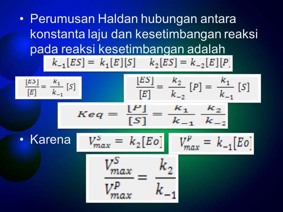 Perumusan Haldan hubungan antara konstanta laju dan kesetimbangan reaksi pada reaksi kesetimbangan adalah Karena