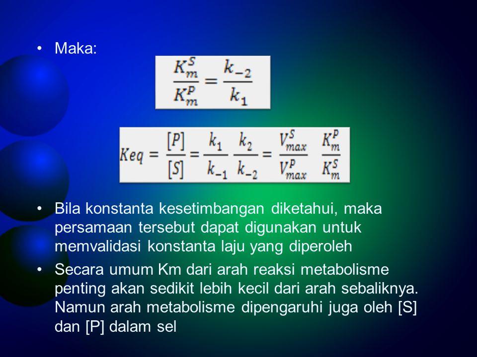Maka: Bila konstanta kesetimbangan diketahui, maka persamaan tersebut dapat digunakan untuk memvalidasi konstanta laju yang diperoleh Secara umum Km d