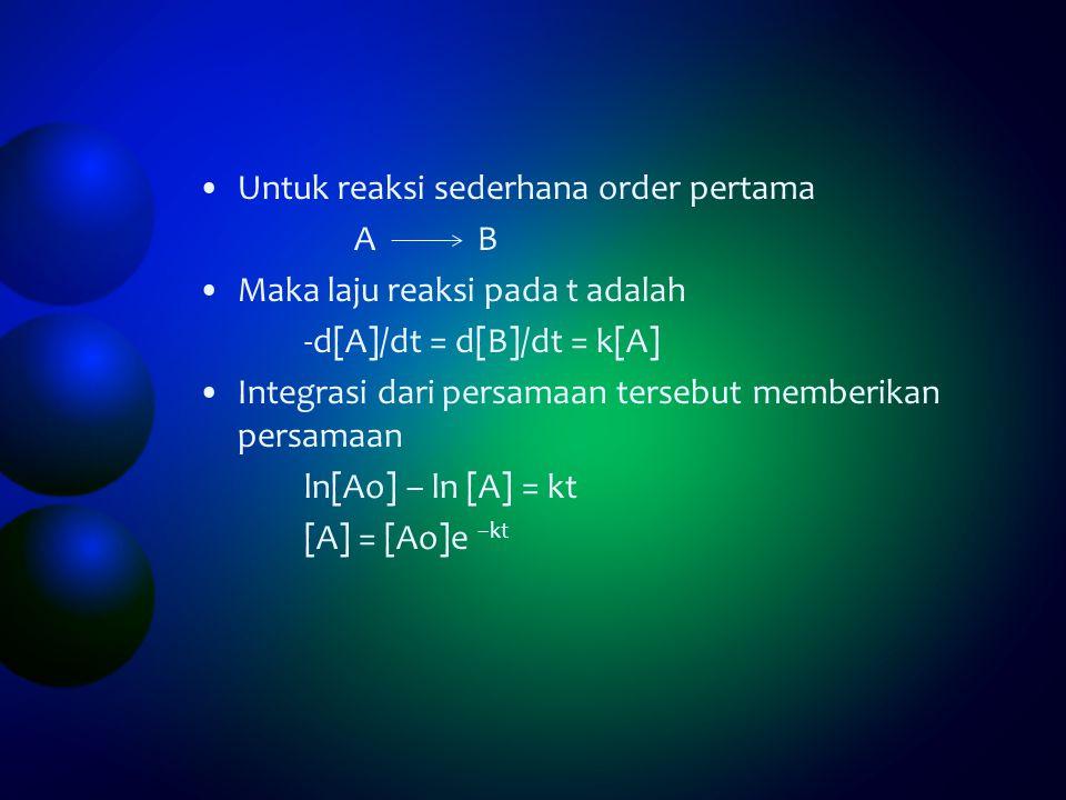 Untuk reaksi sederhana order pertama A B Maka laju reaksi pada t adalah -d[A]/dt = d[B]/dt = k[A] Integrasi dari persamaan tersebut memberikan persama