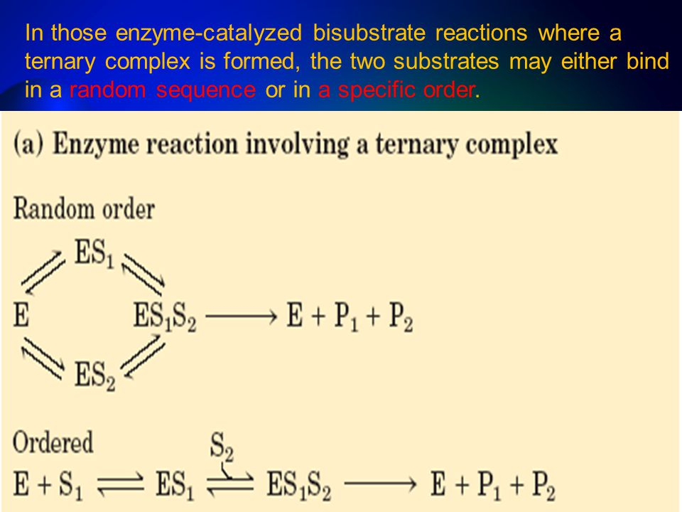In those enzyme-catalyzed bisubstrate reactions where a ternary complex is formed, the two substrates may either bind in a random sequence or in a spe