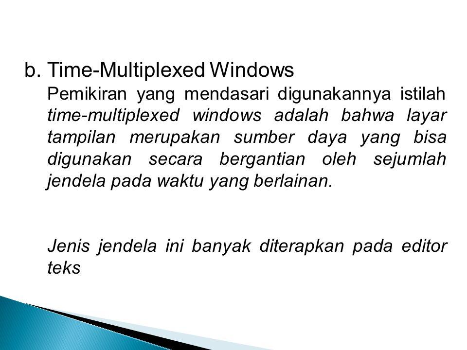 b. Time-Multiplexed Windows Pemikiran yang mendasari digunakannya istilah time-multiplexed windows adalah bahwa layar tampilan merupakan sumber daya y