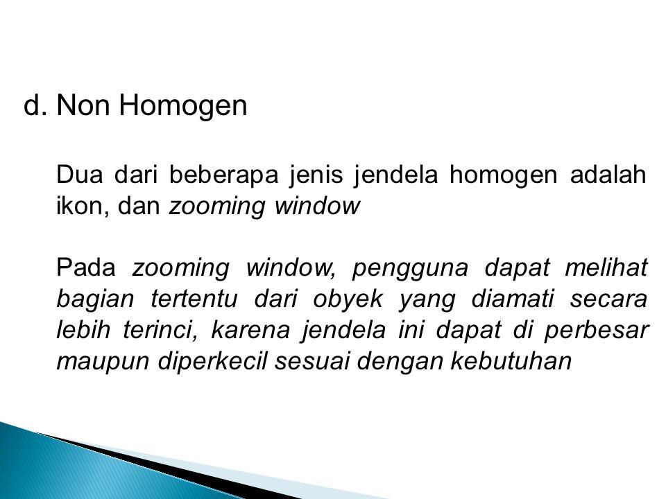 d. Non Homogen Dua dari beberapa jenis jendela homogen adalah ikon, dan zooming window Pada zooming window, pengguna dapat melihat bagian tertentu dar