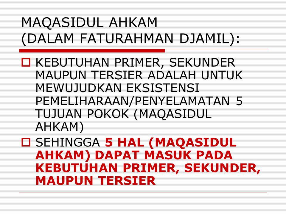 MAQASIDUL AHKAM (DALAM FATURAHMAN DJAMIL):  KEBUTUHAN PRIMER, SEKUNDER MAUPUN TERSIER ADALAH UNTUK MEWUJUDKAN EKSISTENSI PEMELIHARAAN/PENYELAMATAN 5