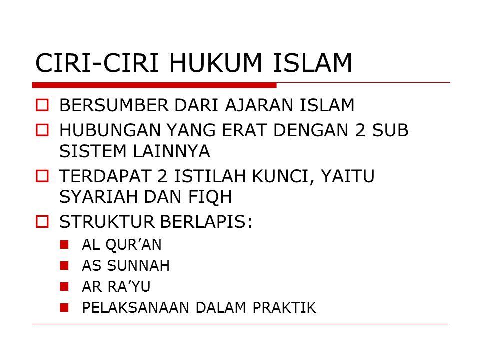  BERSUMBER DARI AJARAN ISLAM  HUBUNGAN YANG ERAT DENGAN 2 SUB SISTEM LAINNYA  TERDAPAT 2 ISTILAH KUNCI, YAITU SYARIAH DAN FIQH  STRUKTUR BERLAPIS: