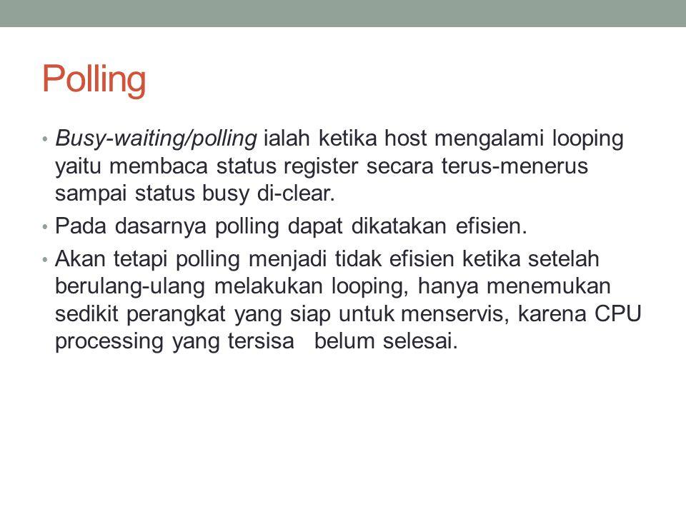 Polling Busy-waiting/polling ialah ketika host mengalami looping yaitu membaca status register secara terus-menerus sampai status busy di-clear. Pada