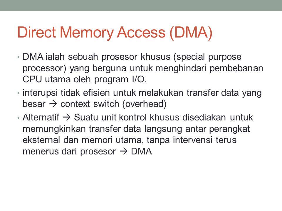 Direct Memory Access (DMA) DMA ialah sebuah prosesor khusus (special purpose processor) yang berguna untuk menghindari pembebanan CPU utama oleh progr