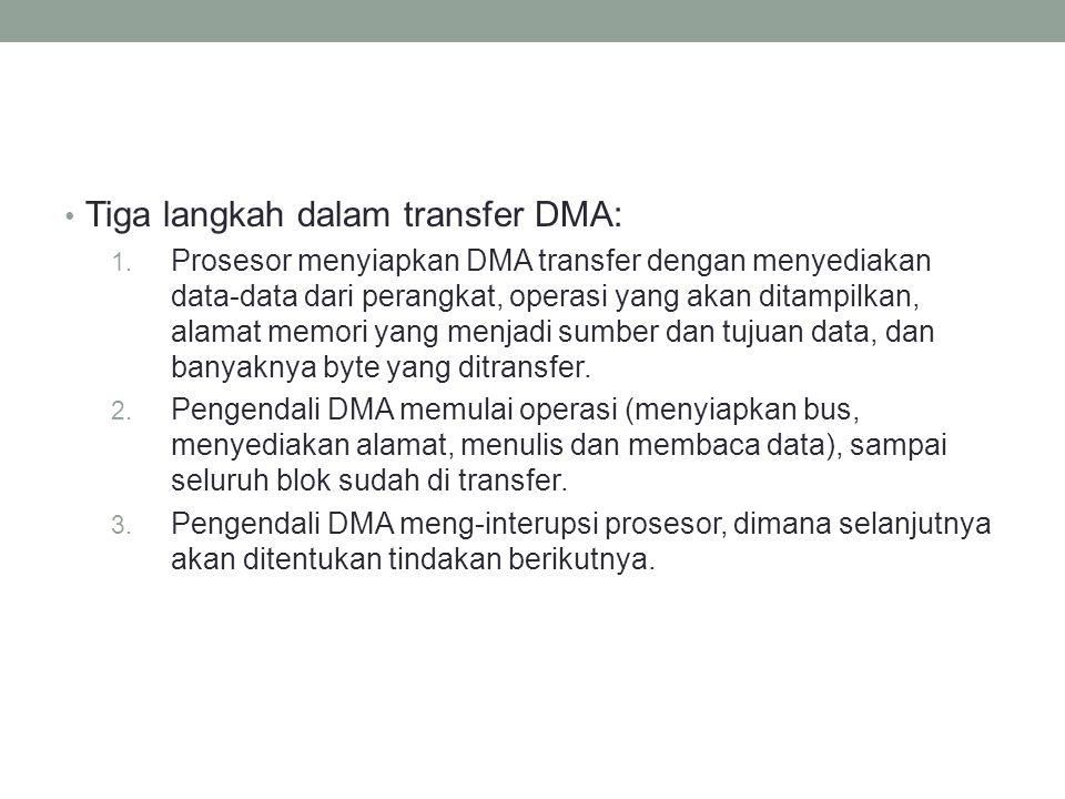 Tiga langkah dalam transfer DMA: 1. Prosesor menyiapkan DMA transfer dengan menyediakan data-data dari perangkat, operasi yang akan ditampilkan, alama