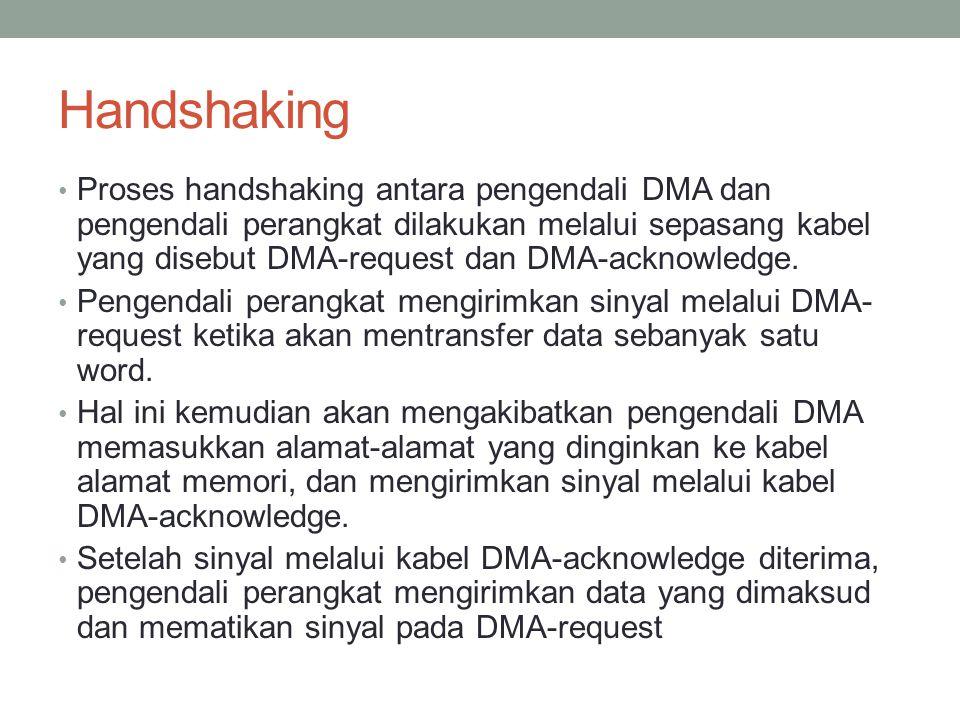 Handshaking Proses handshaking antara pengendali DMA dan pengendali perangkat dilakukan melalui sepasang kabel yang disebut DMA-request dan DMA-acknow