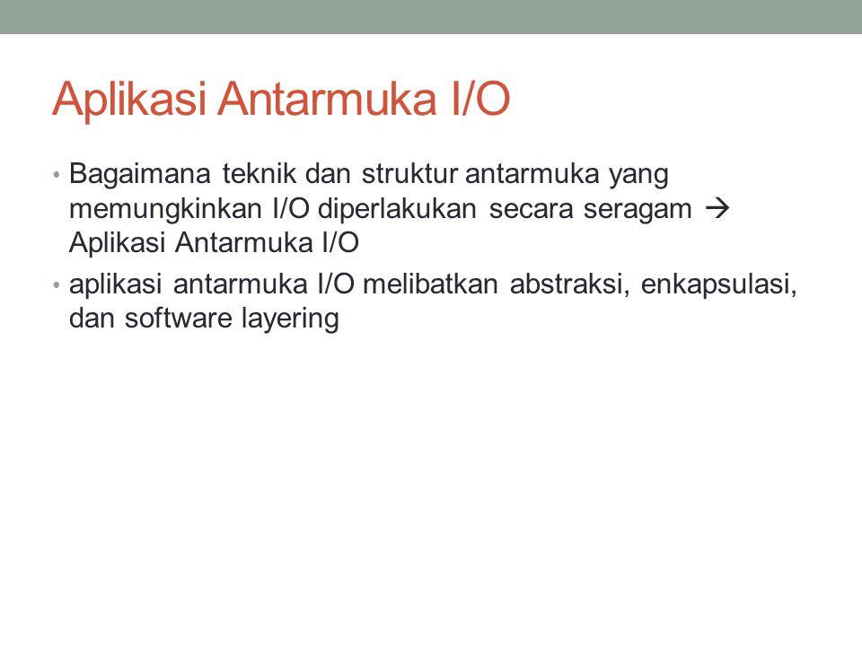 Aplikasi Antarmuka I/O Bagaimana teknik dan struktur antarmuka yang memungkinkan I/O diperlakukan secara seragam  Aplikasi Antarmuka I/O aplikasi ant