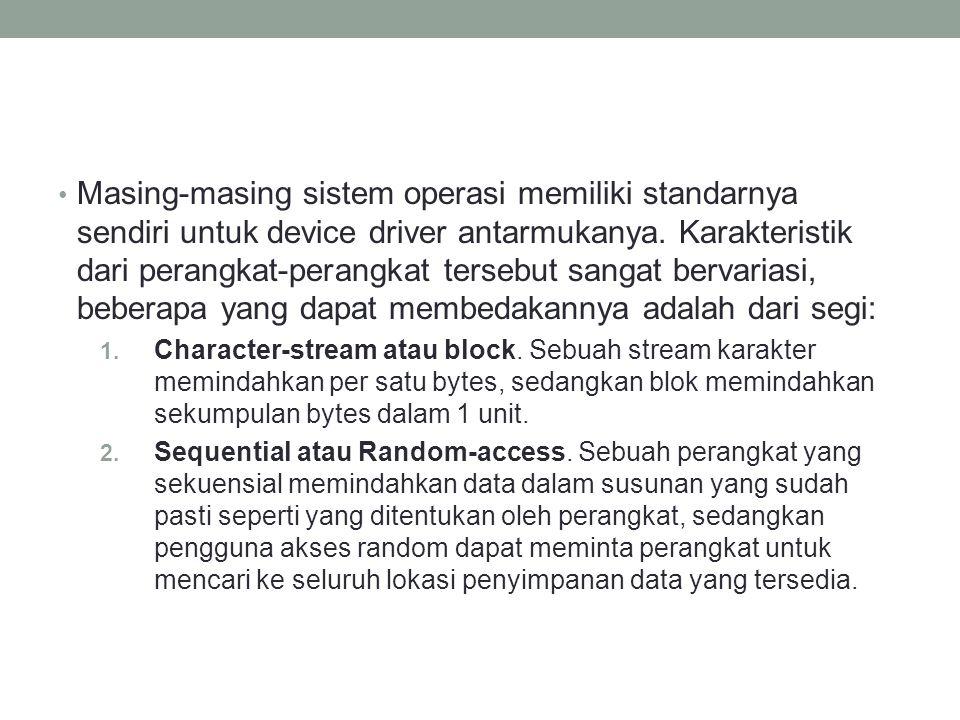 Masing-masing sistem operasi memiliki standarnya sendiri untuk device driver antarmukanya. Karakteristik dari perangkat-perangkat tersebut sangat berv