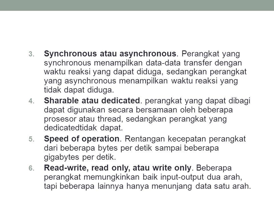 3. Synchronous atau asynchronous. Perangkat yang synchronous menampilkan data-data transfer dengan waktu reaksi yang dapat diduga, sedangkan perangkat