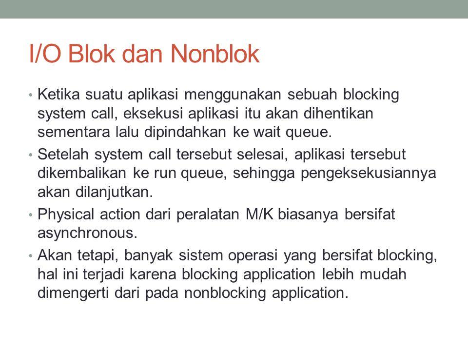 I/O Blok dan Nonblok Ketika suatu aplikasi menggunakan sebuah blocking system call, eksekusi aplikasi itu akan dihentikan sementara lalu dipindahkan k