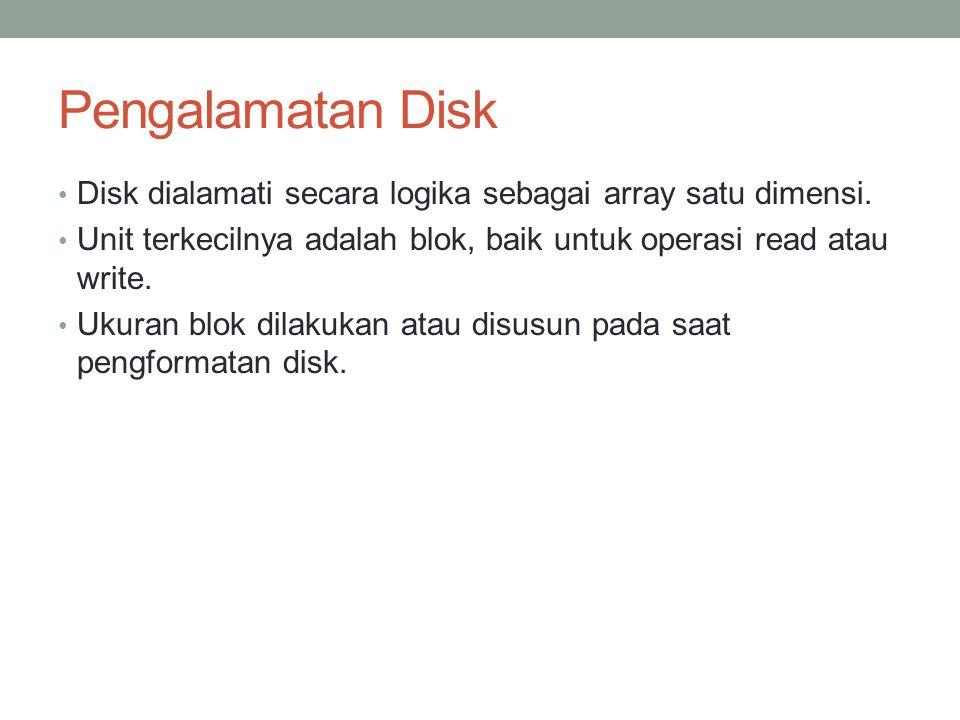 Pengalamatan Disk Disk dialamati secara logika sebagai array satu dimensi. Unit terkecilnya adalah blok, baik untuk operasi read atau write. Ukuran bl