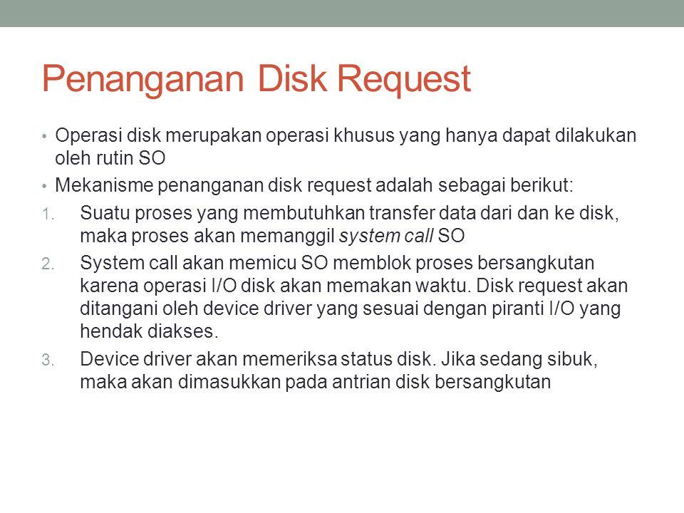 Penanganan Disk Request Operasi disk merupakan operasi khusus yang hanya dapat dilakukan oleh rutin SO Mekanisme penanganan disk request adalah sebaga