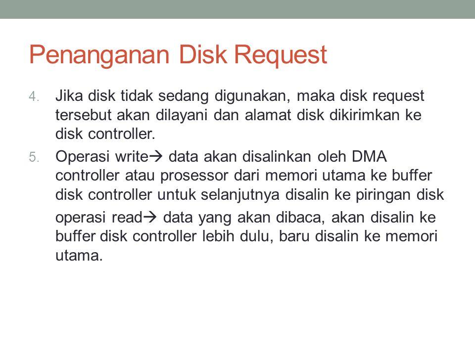 Penanganan Disk Request 4. Jika disk tidak sedang digunakan, maka disk request tersebut akan dilayani dan alamat disk dikirimkan ke disk controller. 5