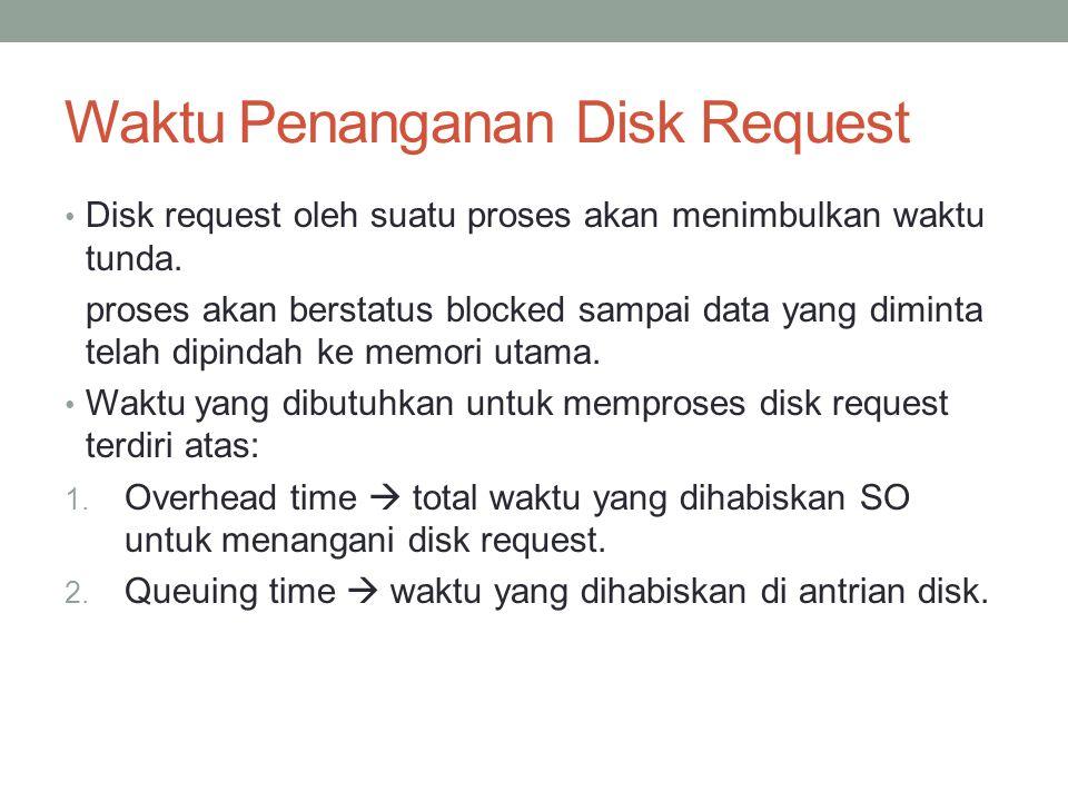 Waktu Penanganan Disk Request Disk request oleh suatu proses akan menimbulkan waktu tunda. proses akan berstatus blocked sampai data yang diminta tela