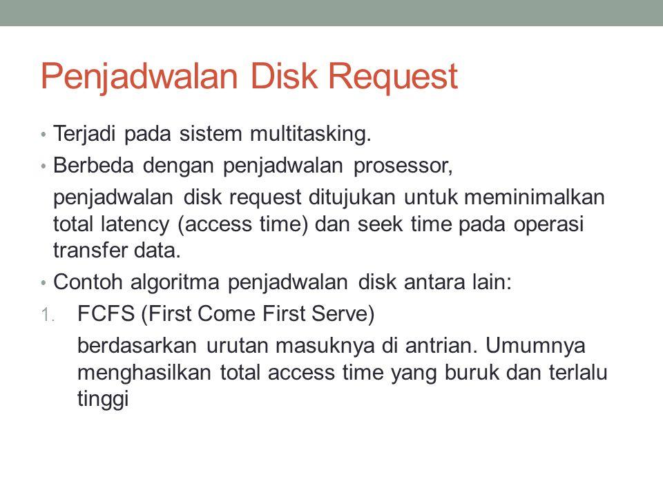 Penjadwalan Disk Request Terjadi pada sistem multitasking. Berbeda dengan penjadwalan prosessor, penjadwalan disk request ditujukan untuk meminimalkan
