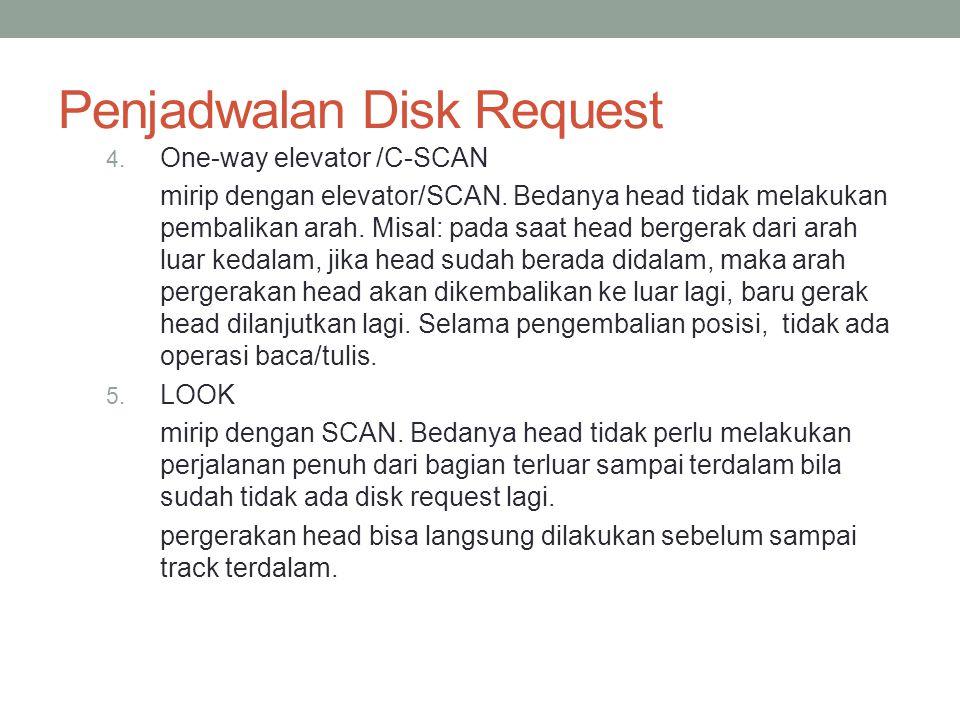 Penjadwalan Disk Request 4. One-way elevator /C-SCAN mirip dengan elevator/SCAN. Bedanya head tidak melakukan pembalikan arah. Misal: pada saat head b
