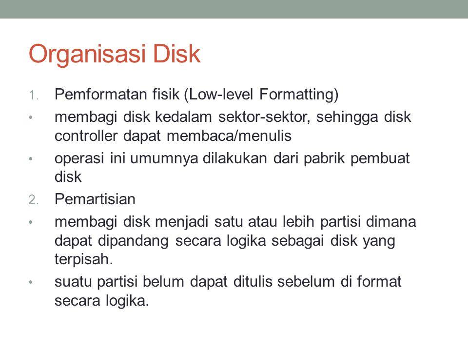 Organisasi Disk 1. Pemformatan fisik (Low-level Formatting) membagi disk kedalam sektor-sektor, sehingga disk controller dapat membaca/menulis operasi