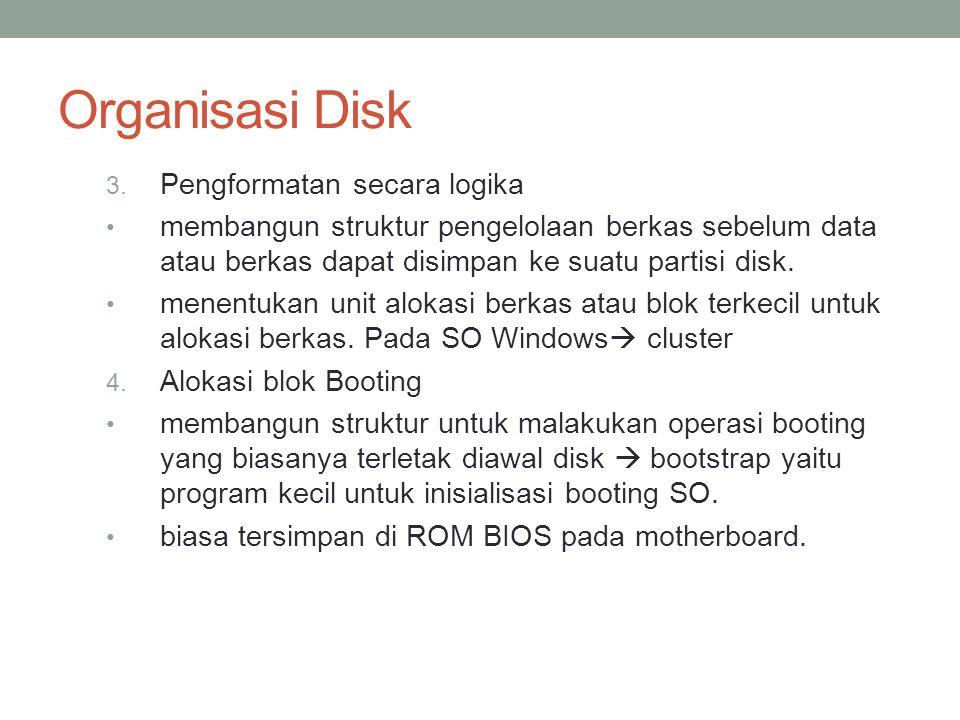 Organisasi Disk 3. Pengformatan secara logika membangun struktur pengelolaan berkas sebelum data atau berkas dapat disimpan ke suatu partisi disk. men