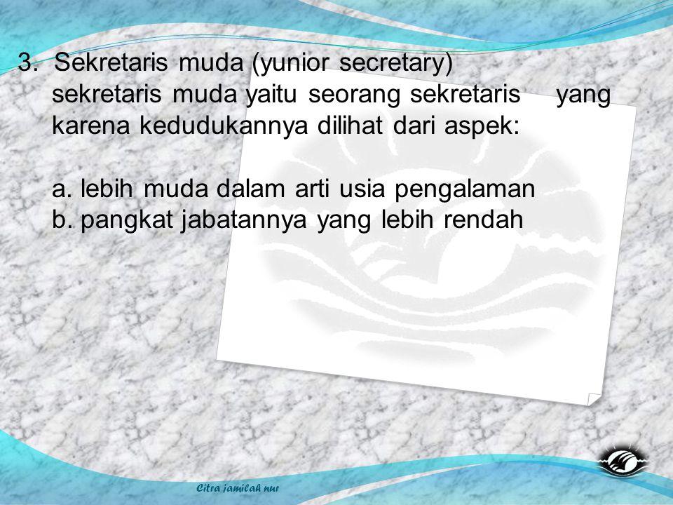 Citra jamilah nur 3. Sekretaris muda (yunior secretary) sekretaris muda yaitu seorang sekretaris yang karena kedudukannya dilihat dari aspek: a. lebih