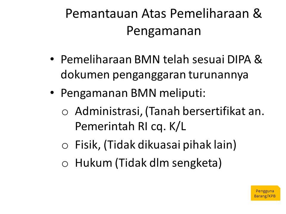 Pemantauan Atas Pemeliharaan & Pengamanan Pengguna Barang/KPB Pemeliharaan BMN telah sesuai DIPA & dokumen penganggaran turunannya Pengamanan BMN meli