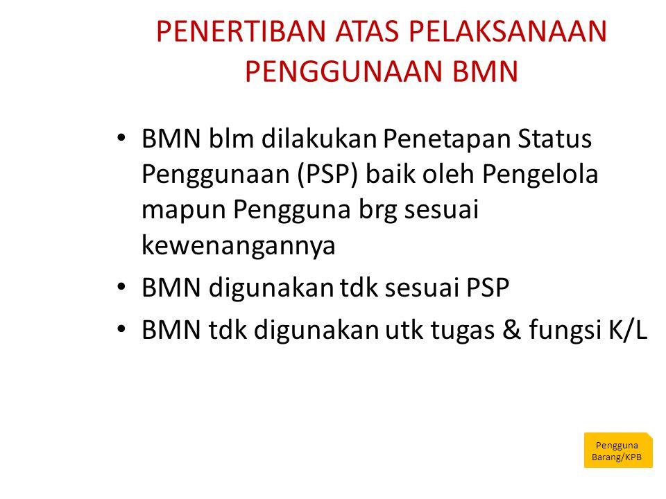 PENERTIBAN ATAS PELAKSANAAN PENGGUNAAN BMN Pengguna Barang/KPB BMN blm dilakukan Penetapan Status Penggunaan (PSP) baik oleh Pengelola mapun Pengguna