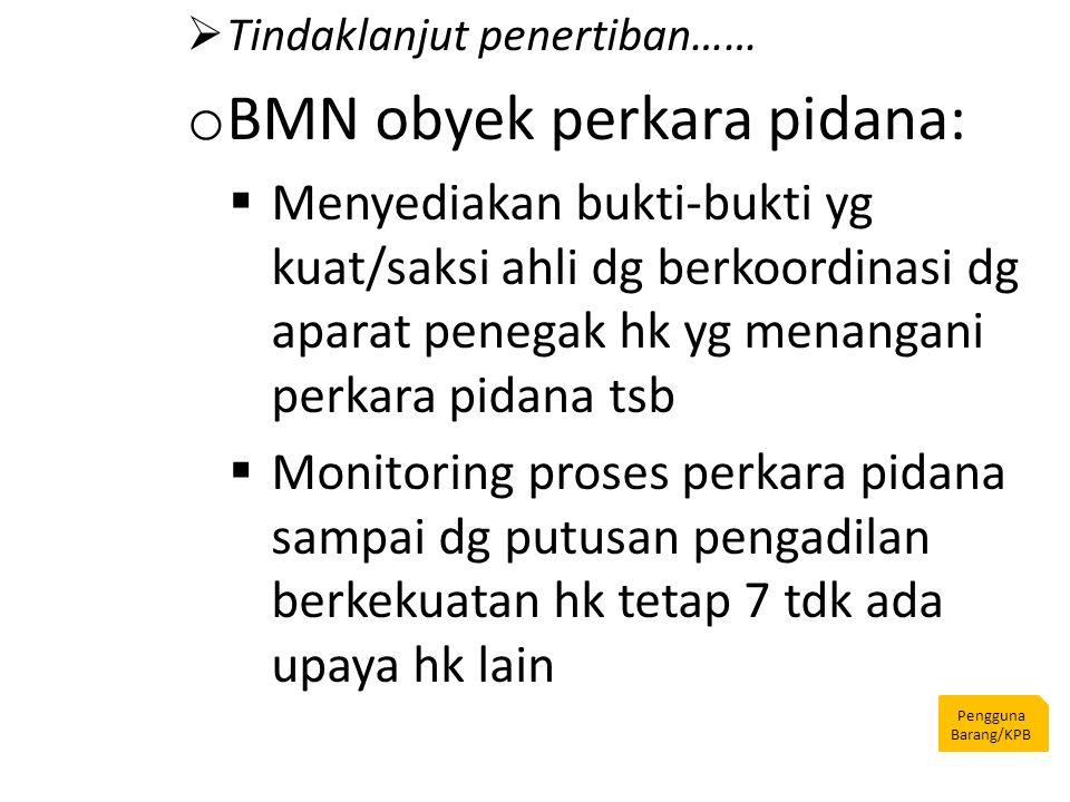 Pengguna Barang/KPB  Tindaklanjut penertiban…… o BMN obyek perkara pidana:  Menyediakan bukti-bukti yg kuat/saksi ahli dg berkoordinasi dg aparat pe