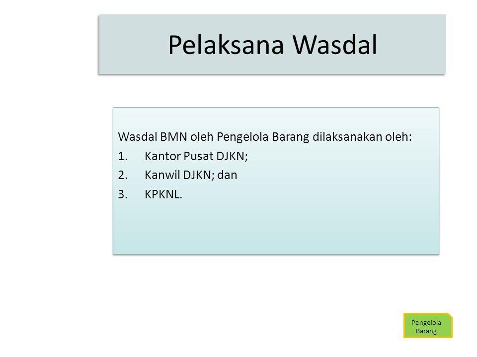 Wasdal BMN oleh Pengelola Barang dilaksanakan oleh: 1.Kantor Pusat DJKN; 2.Kanwil DJKN; dan 3.KPKNL. Wasdal BMN oleh Pengelola Barang dilaksanakan ole
