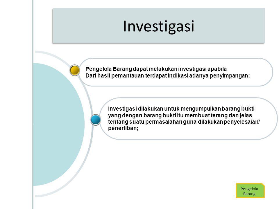 Investigasi Pengelola Barang Investigasi dilakukan untuk mengumpulkan barang bukti yang dengan barang bukti itu membuat terang dan jelas tentang suatu