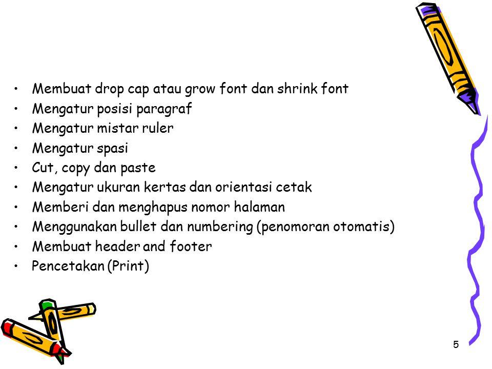 Membuat drop cap atau grow font dan shrink font Mengatur posisi paragraf Mengatur mistar ruler Mengatur spasi Cut, copy dan paste Mengatur ukuran kert