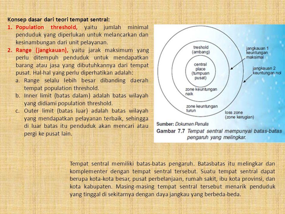 Konsep dasar dari teori tempat sentral: 1.Population threshold, yaitu jumlah minimal penduduk yang diperlukan untuk melancarkan dan kesinambungan dari unit pelayanan.