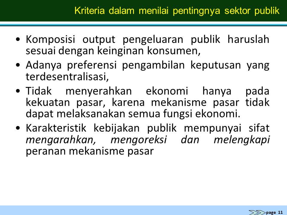 page 11 Kriteria dalam menilai pentingnya sektor publik Komposisi output pengeluaran publik haruslah sesuai dengan keinginan konsumen, Adanya preferen