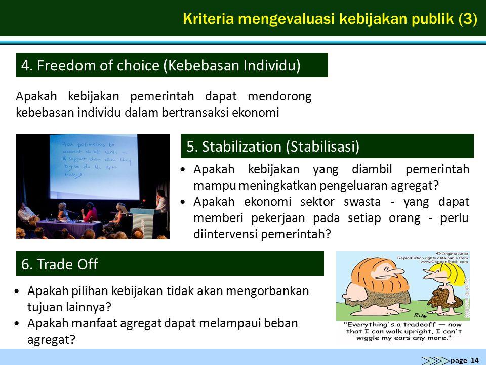 page 14 Kriteria mengevaluasi kebijakan publik (3) 4. Freedom of choice (Kebebasan Individu) Apakah kebijakan pemerintah dapat mendorong kebebasan ind