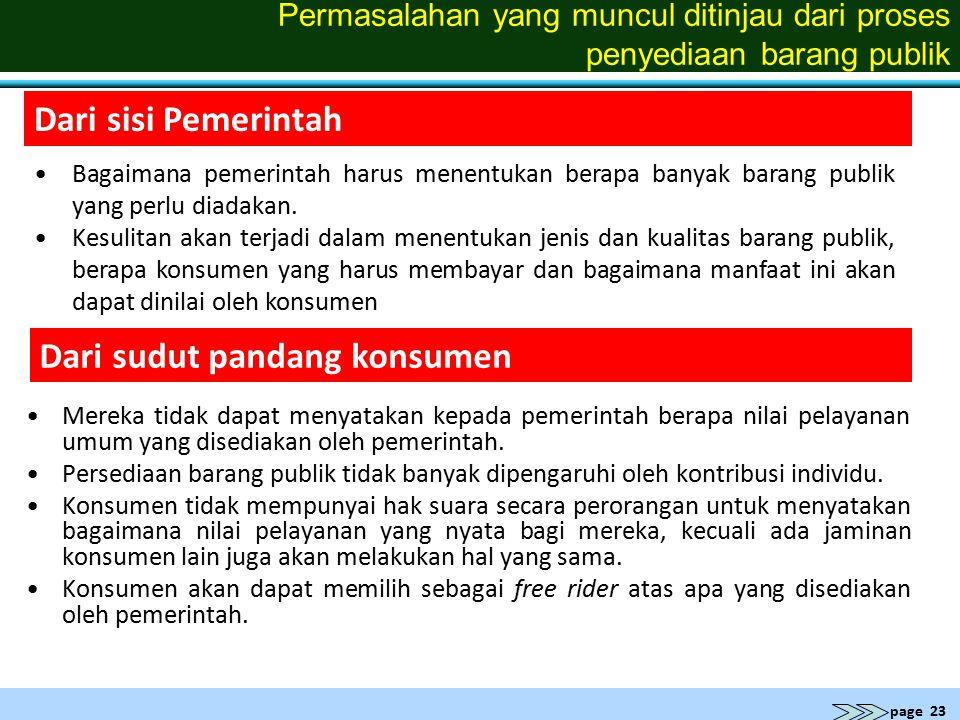 page 23 Permasalahan yang muncul ditinjau dari proses penyediaan barang publik Mereka tidak dapat menyatakan kepada pemerintah berapa nilai pelayanan