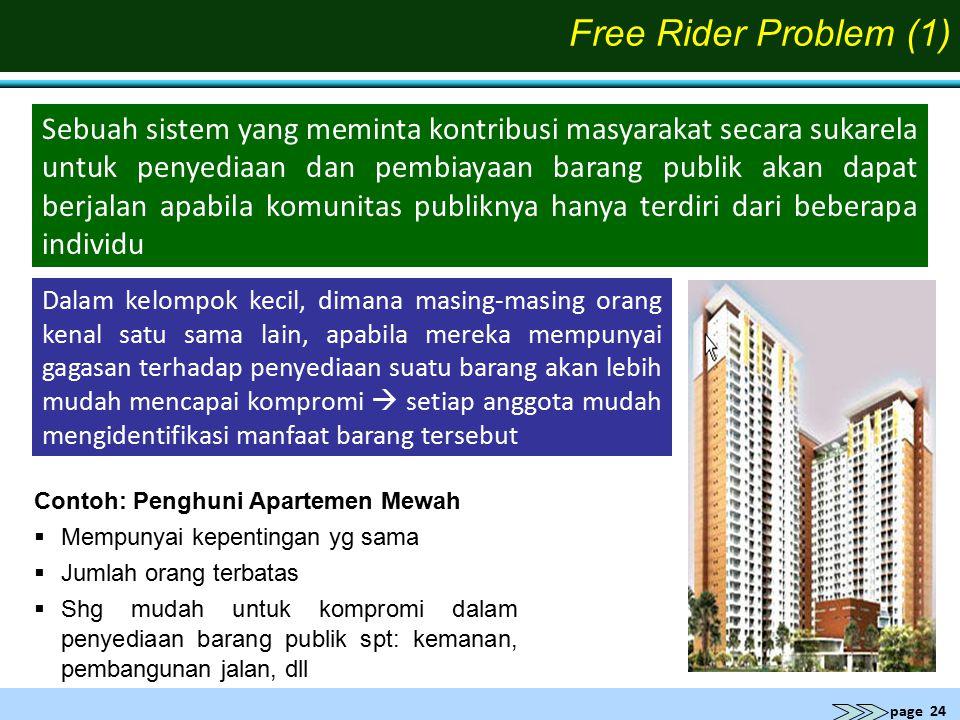 page 24 Free Rider Problem (1) Contoh: Penghuni Apartemen Mewah  Mempunyai kepentingan yg sama  Jumlah orang terbatas  Shg mudah untuk kompromi dal