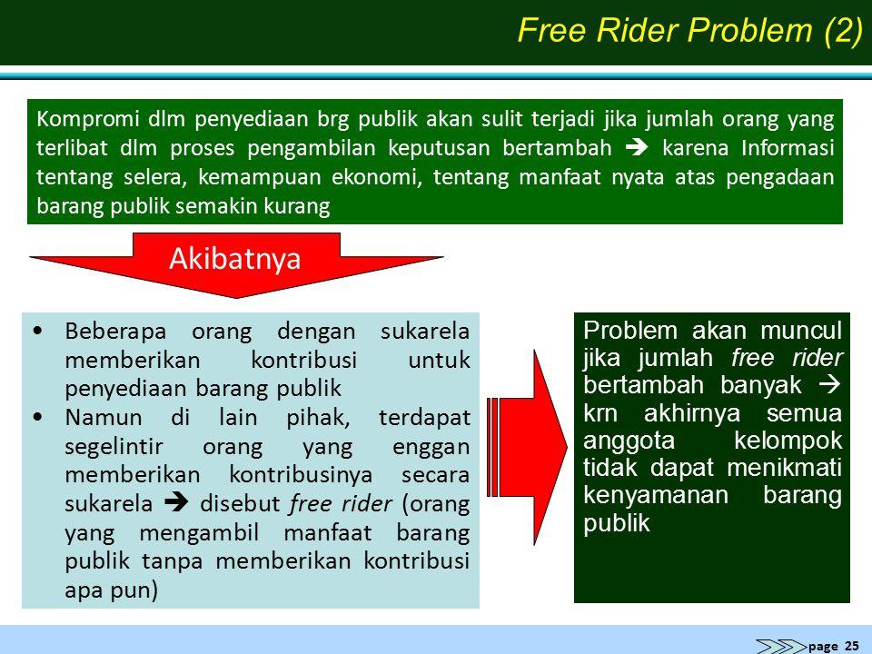 page 25 Problem akan muncul jika jumlah free rider bertambah banyak  krn akhirnya semua anggota kelompok tidak dapat menikmati kenyamanan barang publ