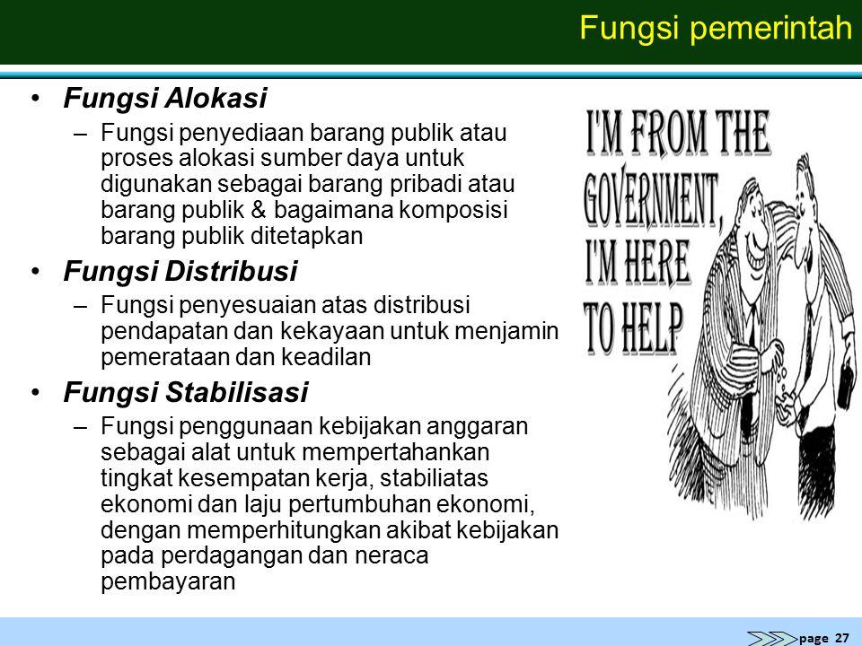 page 27 Fungsi pemerintah Fungsi Alokasi –Fungsi penyediaan barang publik atau proses alokasi sumber daya untuk digunakan sebagai barang pribadi atau