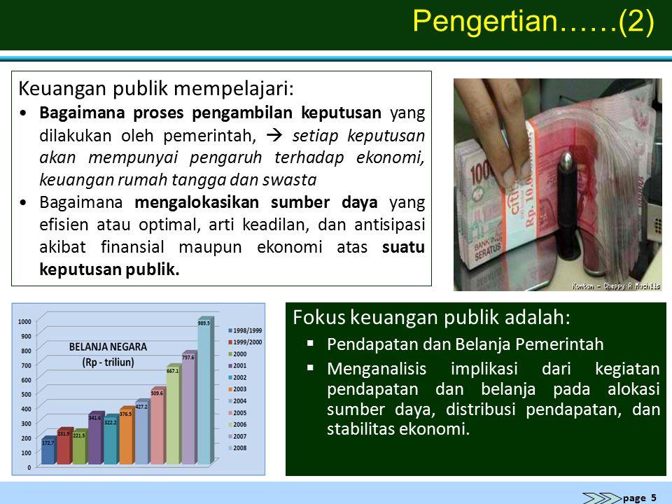 page 5 Pengertian……(2) Fokus keuangan publik adalah:  Pendapatan dan Belanja Pemerintah  Menganalisis implikasi dari kegiatan pendapatan dan belanja