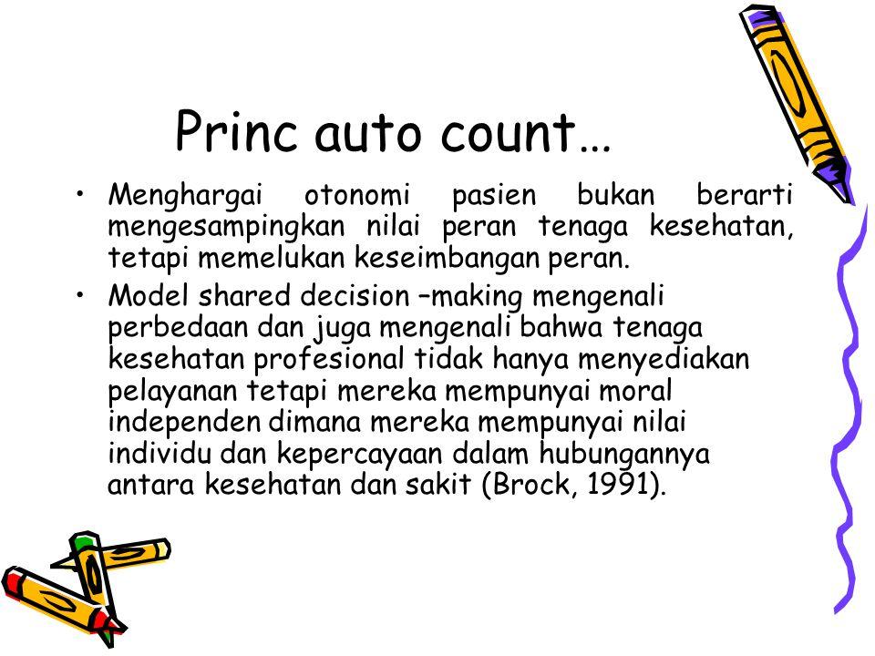 Princ auto count… Menghargai otonomi pasien bukan berarti mengesampingkan nilai peran tenaga kesehatan, tetapi memelukan keseimbangan peran. Model sha